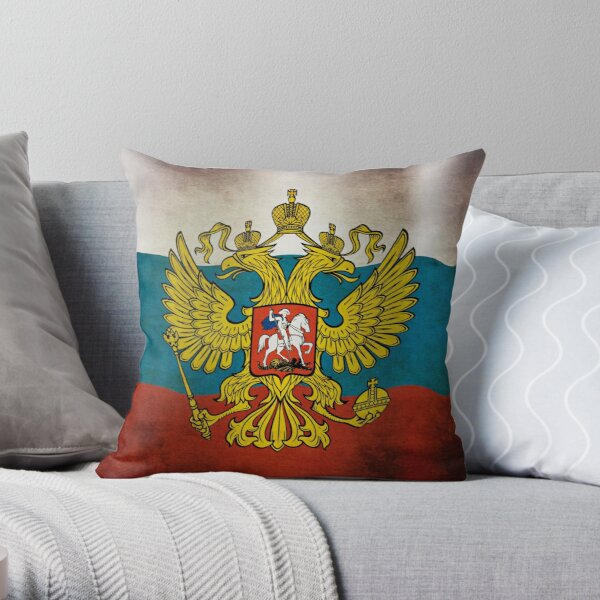 Waving flag of Russia Throw Pillow