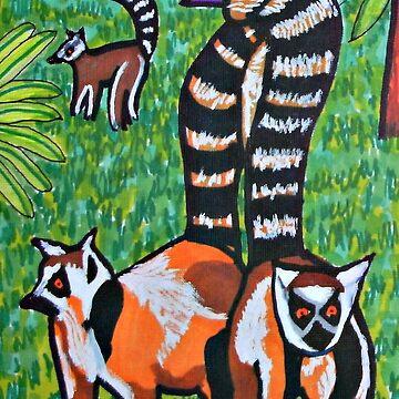 Brown Lemurs in meadow by ditempli