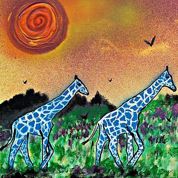 Strolling Blue Giraffes by ditempli