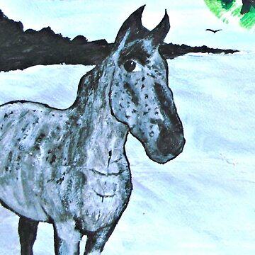 Grey Horse in winter by ditempli
