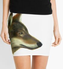 Portrait of a Wolf without background colour Mini Skirt