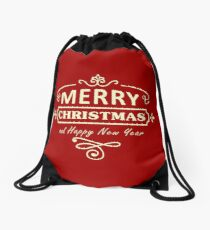 Merry Christmas and Happy New Year Drawstring Bag