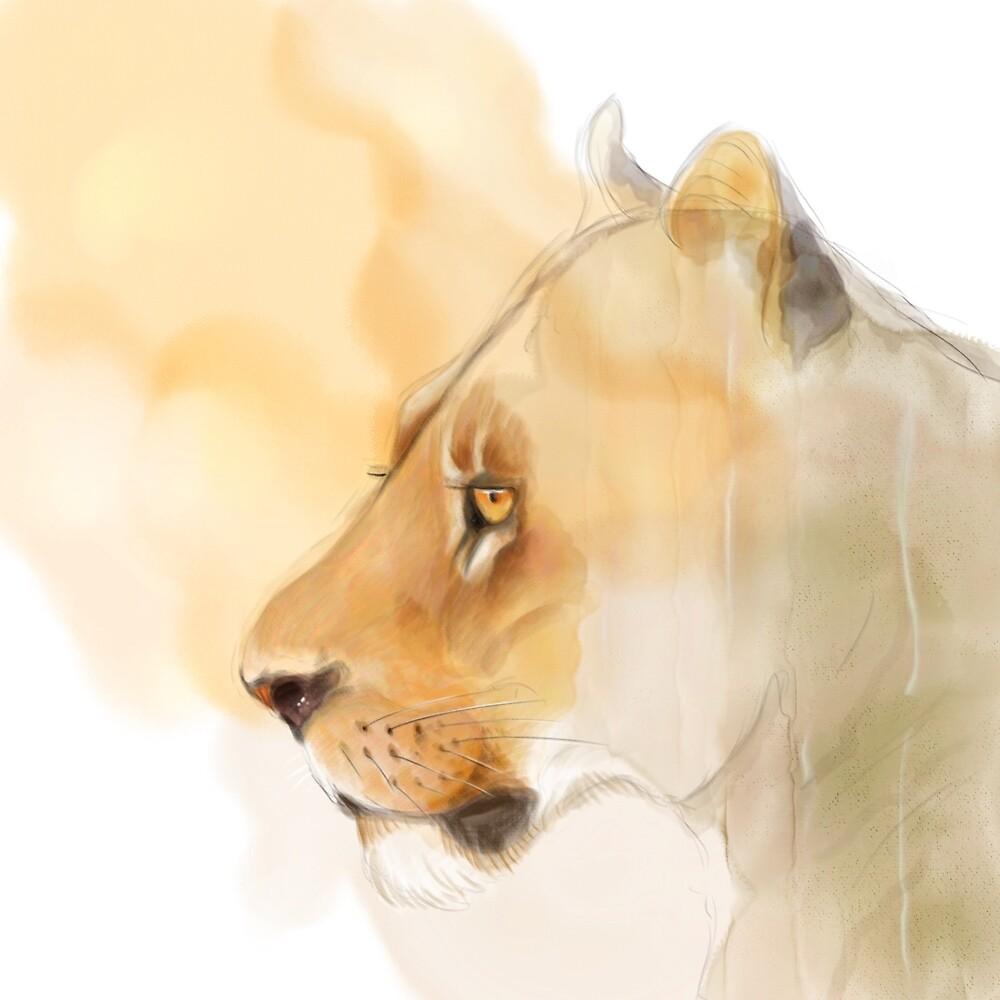 Portrait of a Lioness by artbywilf