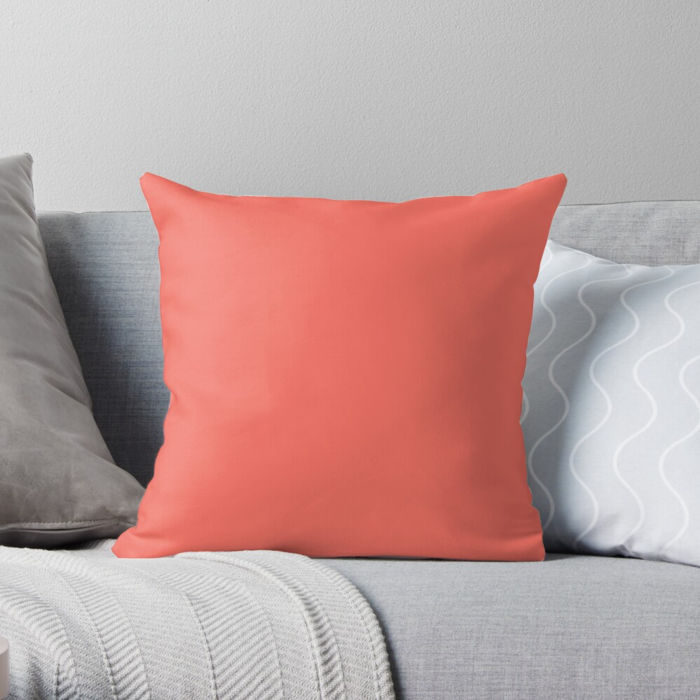 Pantone Color of the Year Living Coral 2019 - PLAIN SOLID LIVING CORAL -100 CORAL AND PINK SHADES ON OZCUSHIONS ON ALL PRODUCTS Throw Pillow