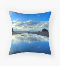 Crossing the stream Throw Pillow