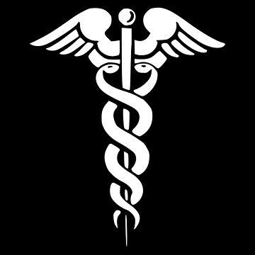 Medical symbol | Caduceus sign | Vector illustration on black background by igorsin