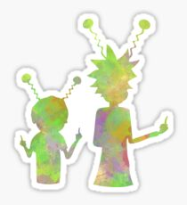 Rick and Morty silhouette - Peace among worlds  Sticker