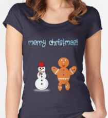 snowman and gingerbread Women's Fitted Scoop T-Shirt