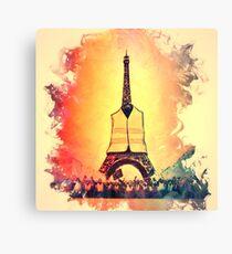 Lienzo Torre Eiffel en luz amarilla chaleco jaunes