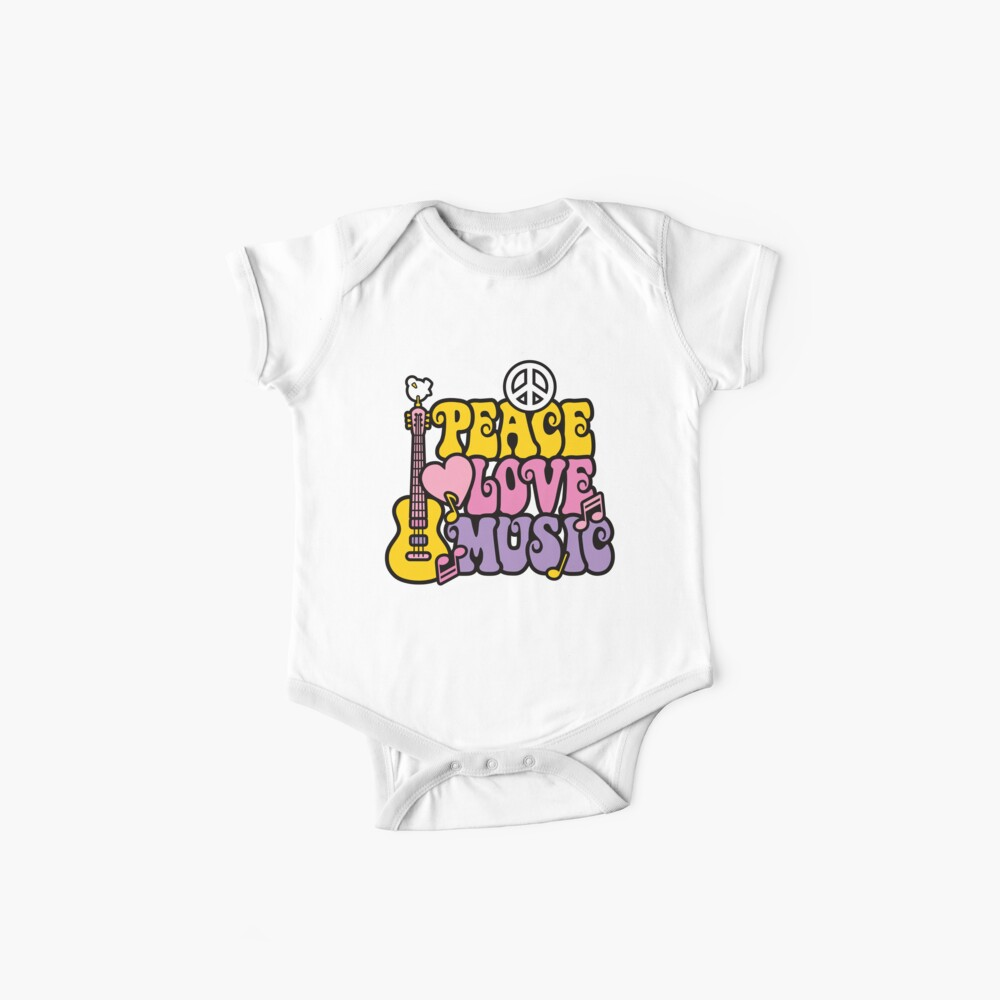 Baby Peace Love and Music Short Sleeve Shirt Toddler Tee