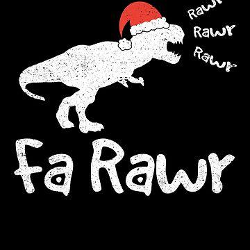 Fa Rawr Christmas Dinosaur T-Rex Santa Hat Holiday by kieranight