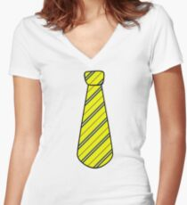 Hufflepuff tie Women's Fitted V-Neck T-Shirt