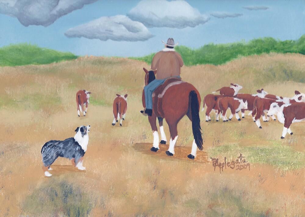 Get Along ~ Australian Shepherd ~ Oil Painting by Barbara Applegate