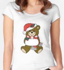 Adorable Christmas Bear  Women's Fitted Scoop T-Shirt
