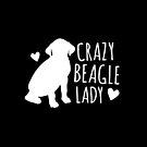 Crazy Beagle Dog Lady in white by jazzydevil