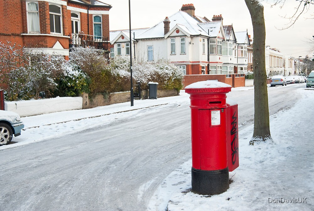 Snowy Letterbox in Idmiston Road, West Norwood, London. by DonDavisUK