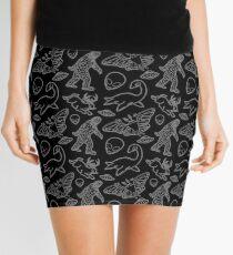 Cryptid Pattern lines White Mini Skirt