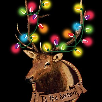 Cute Tis The Season Reindeer with Colorful Christmas Lights by tronictees