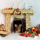 christmas George the mouse in a log pile house by Simon-dell