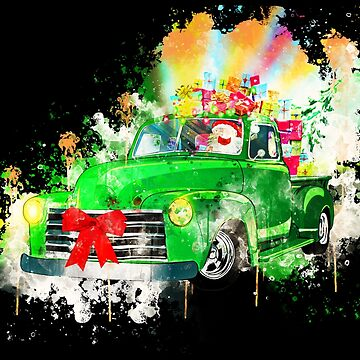 Christmas retro car santa claus gifts watercolor painted by VincentW91