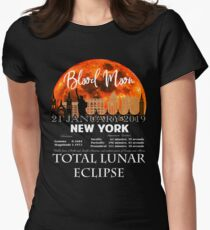 BLOOD MOON TOTAL LUNAR ECLIPSE JANUARY 21, 2019 - NEW YORK Women's Fitted T-Shirt