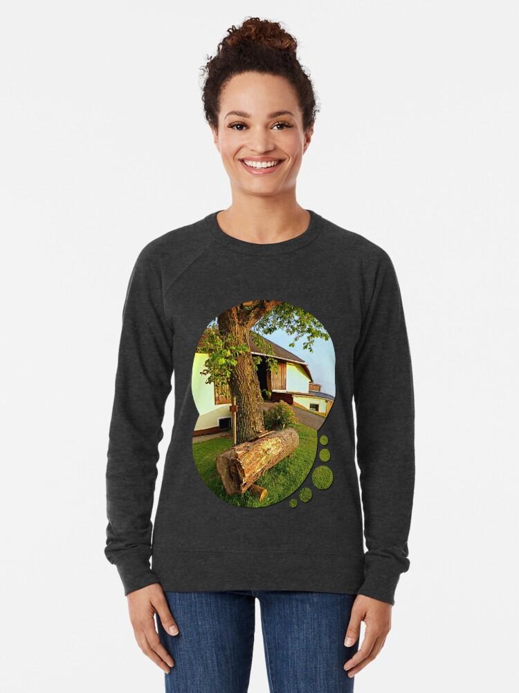 Alternate view of Tree trunk bench on a summer evening | landscape evening Lightweight Sweatshirt
