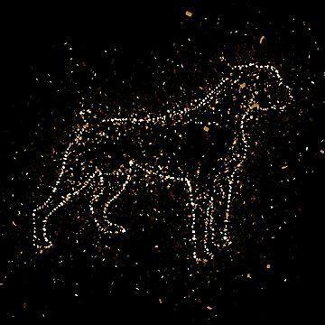 Dog black animal golden ornament Gold by VincentW91