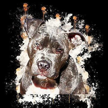 Dog pitbull terrier watercolor painted by VincentW91