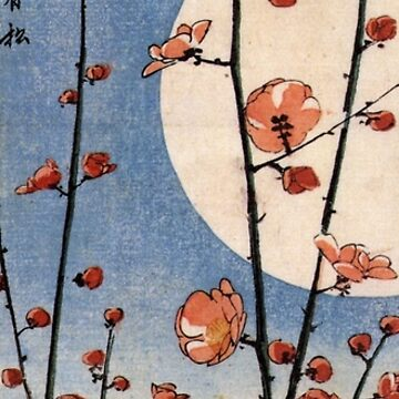 Blooming Plum Tree With Full Moon by Utagawa Hiroshige (Reproduction) by RozAbellera