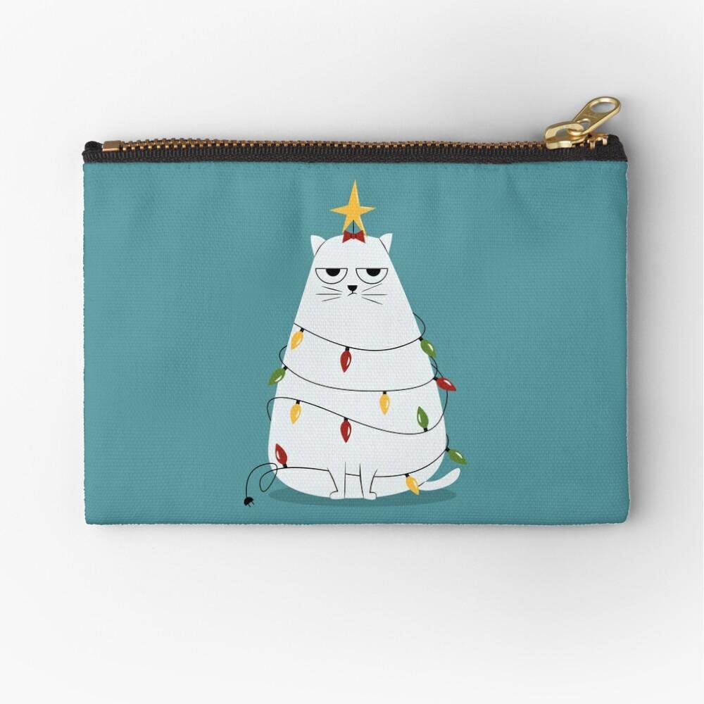 Grumpy Christmas Cat Zipper Pouch