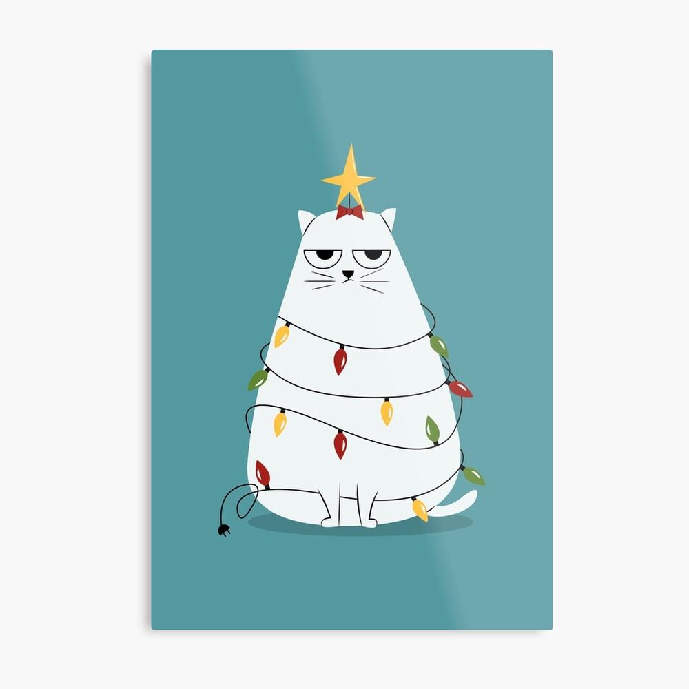 Grumpy Christmas Cat Metal Print