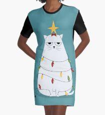 Grumpy Christmas Cat Graphic T-Shirt Dress