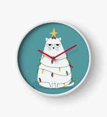 Grumpy Christmas Cat Clock