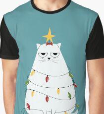 Grumpy Christmas Cat Graphic T-Shirt