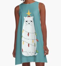 Grumpy Christmas Cat A-Line Dress