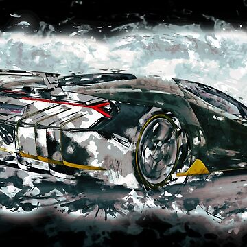 Lamborghini Centenario Rear - Watercolour by HogarthArts