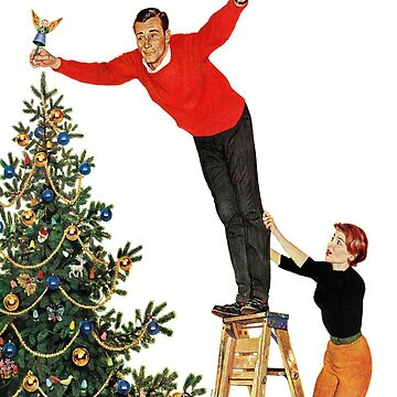 Topping the Christmas tree painting by famous artist John Philip Falter, Angel, Holiday, ornaments, family, thanksgiving, Santa, xmas, 1950s, Vintage, Greetings, Merry, decorations, Norman Rockwell by designteam
