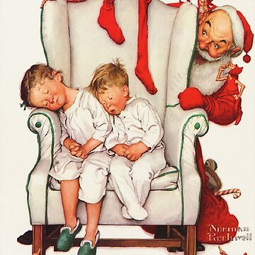 Santa looking at two sleeping children Norman Rockwell,  Christmas painting by famous artist, Santa, xmas, 1950s, Vintage, Greetings, Merry, Grandparents, Holiday Tree, festive, family, thanksgiving by designteam