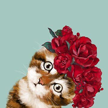Gato bebé con corona de rosa roja de bignosework