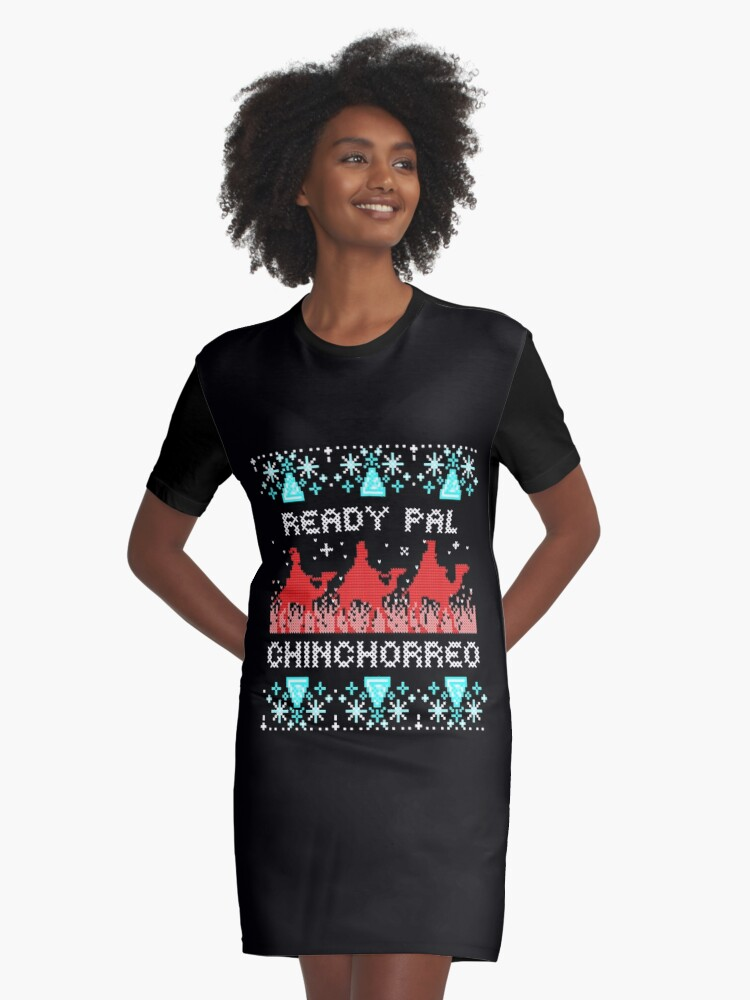 Ugly Christmas Dress.Ready Pal Chinchorreo Boricua Ugly Christmas Sweater Suitable For Christmas Parties Octavitas And Fiesta De Reyes Graphic T Shirt Dress By