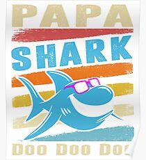 Retro Vintage Papa Shark TShirt Gift Daddy Grandpa Dad Poster