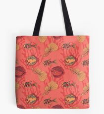 Fishes on living coral background Tote Bag