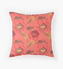 Fishes on living coral background Throw Pillow