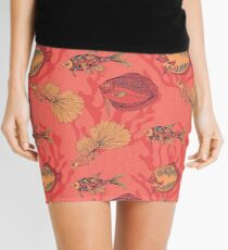 Fishes on living coral background Mini Skirt