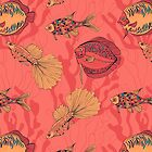 Fishes on living coral background by Katerina Kirilova