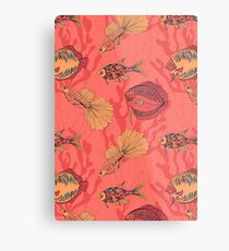 Fishes on living coral background Metal Print