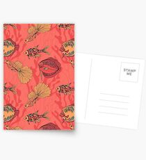 Fishes on living coral background Postcards