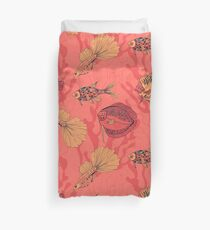 Fishes on living coral background Duvet Cover