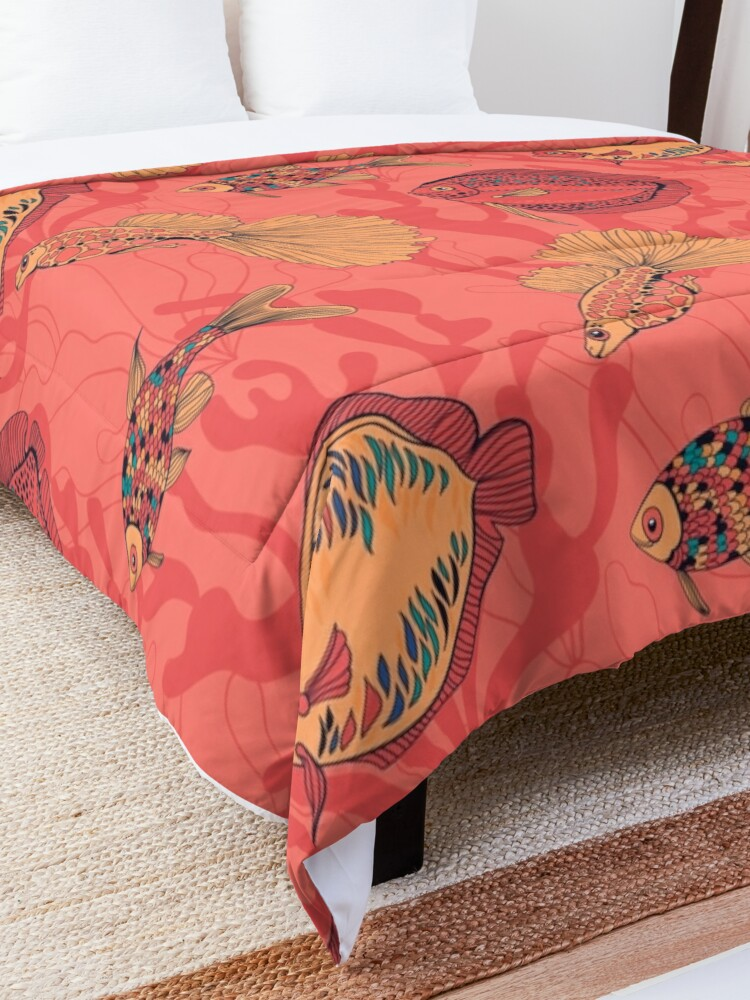 Alternate view of Fishes on living coral background Comforter