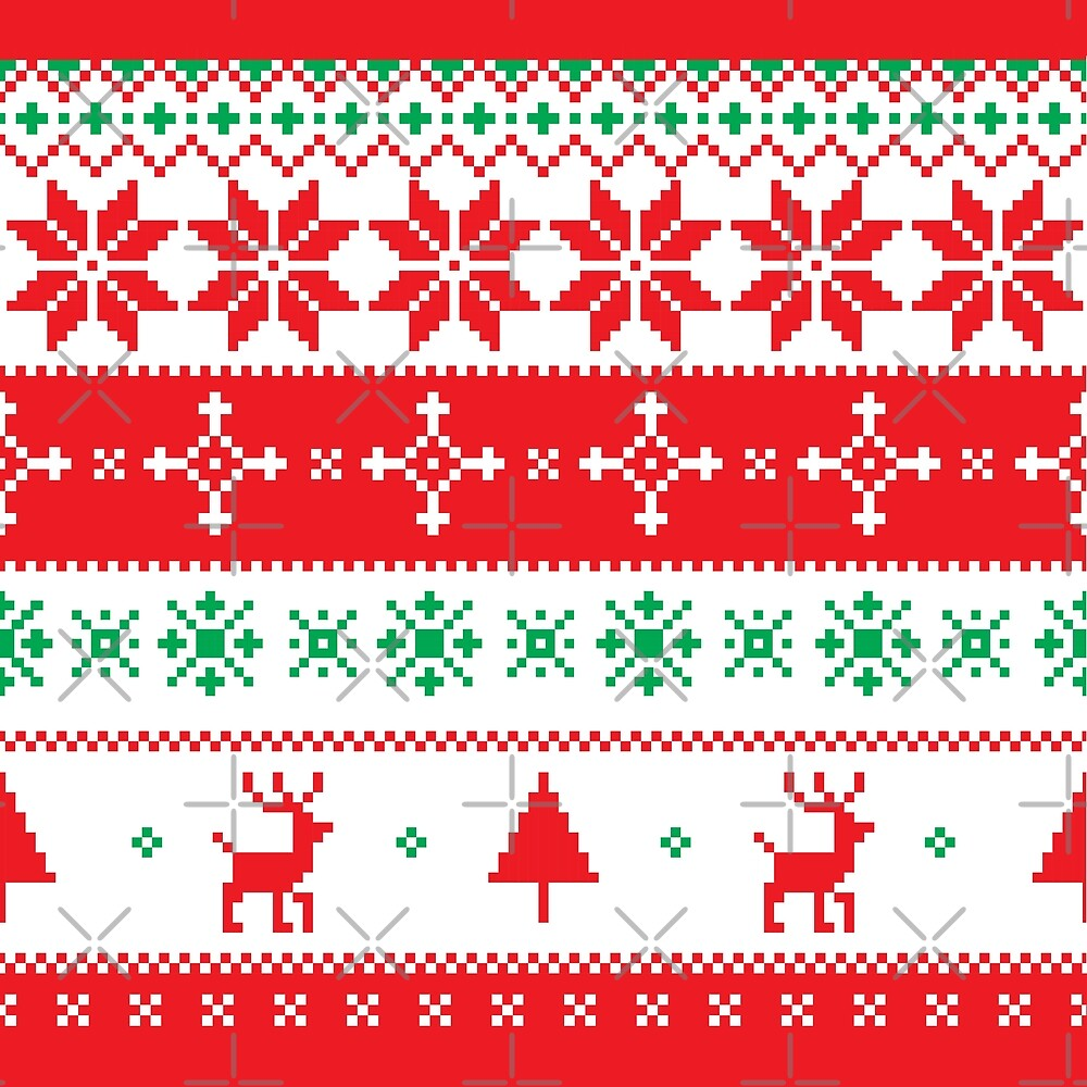 Ugly Christmas Sweaters Patterns.Ugly Christmas Sweater Pattern Xmas Reindeer Tree Snowflakes